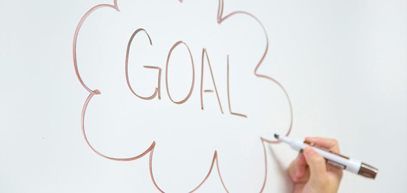Word Goal Written on a Whiteboard